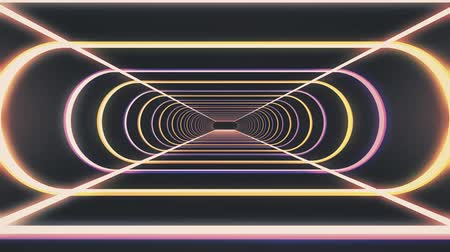bending : In out flight through neon rib lights abstract cyber tunnel motion graphics animation background new quality retro futuristic vintage style cool nice beautiful video footage
