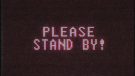 obsoleto : retro videogame STAND BY word text computer old tv glitch interference noise screen animation seamless loop New quality universal vintage motion dynamic animated background colorful joyful video