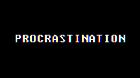 programa : retro videogame PROCRASTINATION text computer old tv glitch interference noise screen animation seamless loop New quality universal vintage motion dynamic animated background colorful joyful video