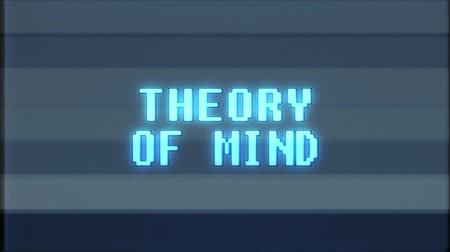 teoria : retro videogame THEORY OF MIND text computer old tv glitch interference noise screen animation seamless loop New quality universal vintage motion dynamic animated background colorful joyful video