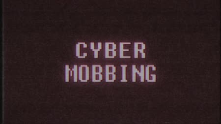mobbing : retro videogame CYBER MOBBING word text computer old tv glitch interference noise screen animation seamless loop New quality universal vintage motion dynamic animated background colorful video Wideo