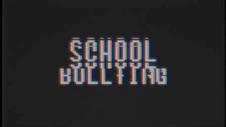 elavult : retro videogame SCHOOL BULLYING word text computer old tv glitch interference noise screen animation seamless loop New quality universal vintage motion dynamic animated background colorful video
