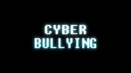programa : retro videogame CYBER BULLYING word text computer old tv glitch interference noise screen animation seamless loop New quality universal vintage motion dynamic animated background colorful video