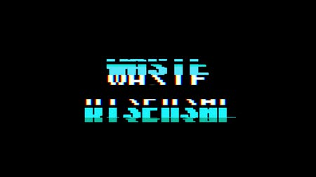 kibertérben : retro videogame WASTE DISPOSAL word text computer old tv glitch interference noise screen animation seamless loop New quality universal vintage motion dynamic animated background colorful video Stock mozgókép