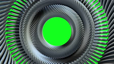 цилиндр : Fluid moving rotating golden metal chain eye circles seamless loop animation 3d motion graphics on green background new quality industrial techno construction futuristic cool nice joyful video footage