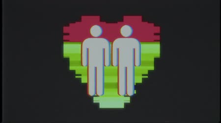 hata : simple gay couple family heart symbol glitch screen distortion TV display animation seamless loop background New quality universal close up vintage dynamic animated colorful joyful cool nice