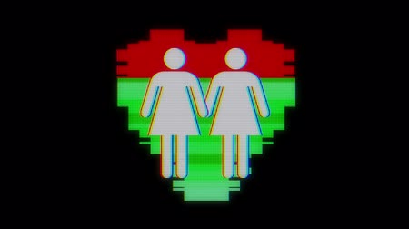pictograma : simple same gender couple family heart symbol glitch screen distortion LCD display animation seamless loop background New quality universal close up vintage dynamic animated colorful joyful cool nice video