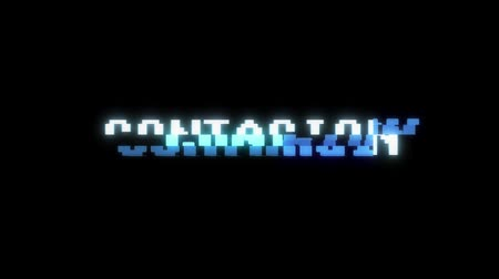 program : retro videogame CONTAGION word text computer old tv glitch interference noise screen animation seamless loop New quality universal vintage motion dynamic animated background colorful joyful video Stok Video