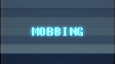 mobbing : retro videogame MOBBING word text computer old tv glitch interference noise screen animation seamless loop New quality universal vintage motion dynamic animated background colorful joyful video
