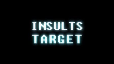 obsoleto : retro videogame INSULT TARGET word text computer tv glitch interference noise screen animation seamless loop New quality universal vintage motion dynamic animated background colorful joyful video