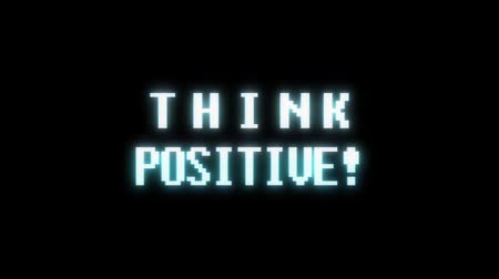 obsoleto : retro videogame THINK POSITIVE word text computer tv glitch interference noise screen animation seamless loop New quality universal vintage motion dynamic animated background colorful joyful video Stock Footage