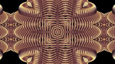 psychedelic : ornamental gold metal chain kaleidoscope seamless loop pattern animation abstract background New quality ethnic tribal holiday native universal motion dynamic cool nice joyful music video