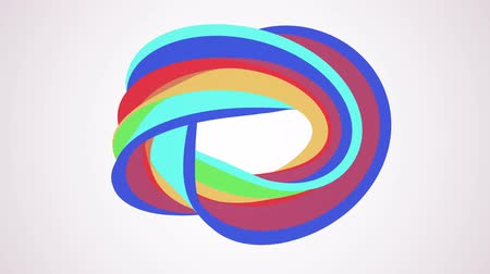 bükülme : Soft colors flat 3D curved rainbow donut candy seamless loop abstract shape animation background new quality universal motion dynamic animated colorful joyful video footage