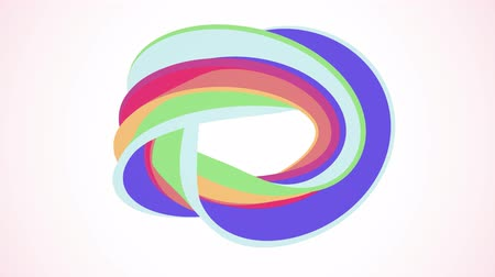 karamel : Soft colors flat 3D curved rainbow donut candy seamless loop abstract shape animation background new quality universal motion dynamic animated colorful joyful video footage