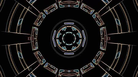 cristal : Color lines drawn ornamental kaleidoscope ethnic tribal psychedelic pattern animation black background loop New quality holiday native universal motion dynamic cool nice joyful music video Stock Footage