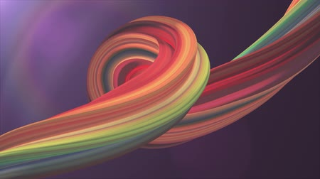 psychedelic : Soft colors 3D curved marshmallow rope candy seamless loop abstract shape animation background new quality universal motion dynamic animated colorful joyful video footage