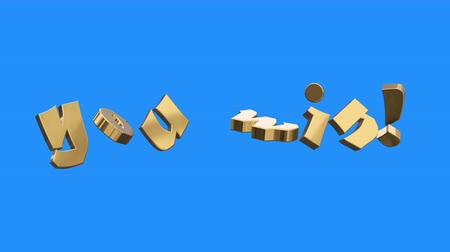 champ : golden YOU WIN word gathering from letters parts spin animation on blue screen background - new quality unique financial business animated dynamic motivation motion text glamour video footage