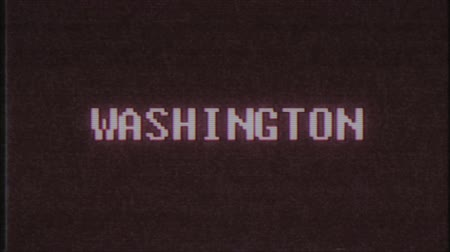 matriz : retro videogame WASHINGTON word text computer tv glitch interference noise screen animation seamless loop New quality universal vintage motion dynamic animated background colorful joyful video