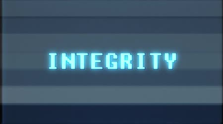 koncept : retro videogame INTEGRITY word text computer tv glitch interference noise screen animation seamless loop New quality universal vintage motion dynamic animated background colorful joyful video