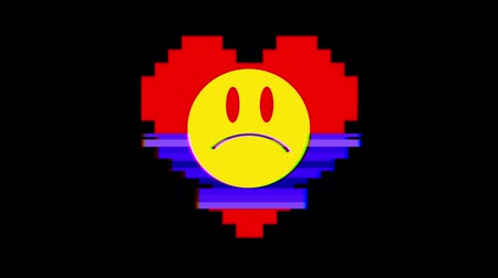 elferdítés : pixel heart with sad angry smile face symbol glitch interference screen seamless loop animation background new dynamic retro vintage joyful colorful video footage