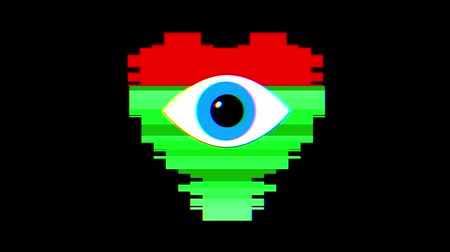 globo ocular : pixel heart with eye symbol glitch interference screen seamless loop animation background new dynamic retro vintage joyful colorful video footage Vídeos