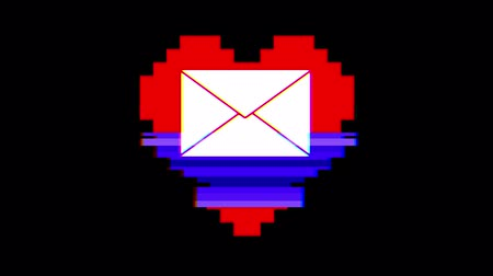 zkreslení : pixel heart with mail envelope symbol glitch interference screen seamless loop animation background new dynamic retro vintage joyful colorful video footage