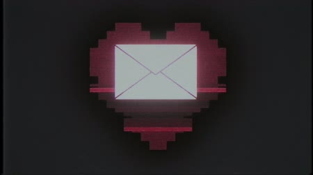 feleségül : pixel heart with mail envelope symbol glitch interference old tv screen seamless loop animation background new dynamic retro vintage joyful colorful video footage Stock mozgókép