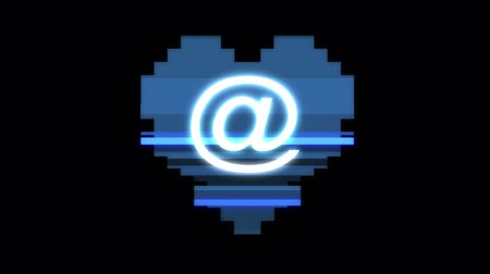 distorsiyon : pixel heart with email symbol glitch interference hud holographic screen seamless loop animation background new dynamic retro vintage joyful colorful video footage
