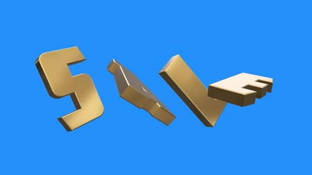 глянцевый : golden SALE word gathering from letters parts spin animation on blue screen background - new quality unique financial business animated dynamic motivation motion text glamour video footage