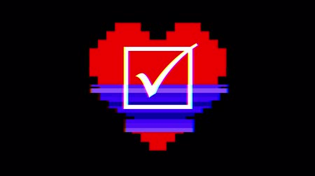 choise : pixel heart with check mark symbol glitch interference screen seamless loop animation background new dynamic retro vintage joyful colorful video footage Stock Footage