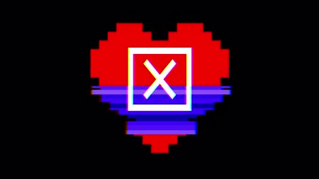 choise : pixel heart with close check mark symbol glitch interference screen seamless loop animation background new dynamic retro vintage joyful colorful video footage