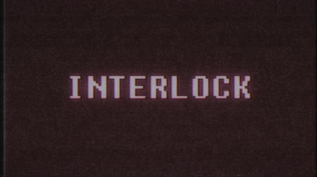 interlock : retro videogame INTERLOCK word text computer tv glitch interference noise screen animation seamless loop New quality universal vintage motion dynamic animated background colorful joyful video