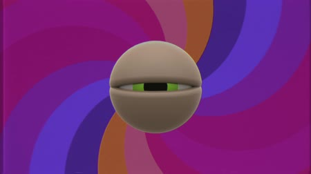 globo ocular : retro TV green eye blinking with rainbow color spiral seamless loop background intro animation New quality universal vintage dynamic animated colorful joyful nice cool video footage Vídeos