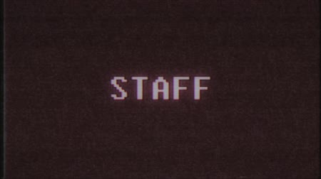 alfabeto : retro videogame STAFF word text computer tv glitch interference noise screen animation seamless loop New quality universal vintage motion dynamic animated background colorful joyful video