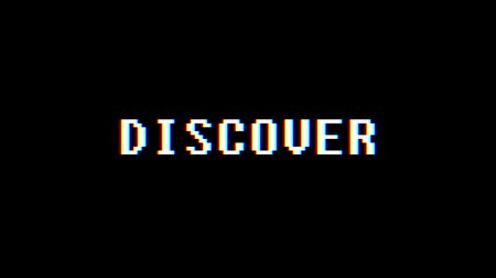 kyberprostor : retro videogame DISCOVER word text computer tv glitch interference noise screen animation seamless loop New quality universal vintage motion dynamic animated background colorful joyful video Dostupné videozáznamy