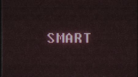 elavult : retro videogame SMART word text computer tv glitch interference noise screen animation seamless loop New quality universal vintage motion dynamic animated background colorful joyful video