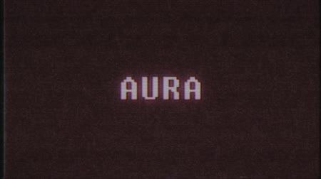 alfabeto : retro videogame AURA word text computer tv glitch interference noise screen animation seamless loop New quality universal vintage motion dynamic animated background colorful joyful video Vídeos