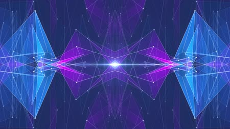 data cloud : abstract symmetrical BLUE PURPLE polygon star shape net shiny cloud animation background new quality dynamic technology motion colorful video footage Stock Footage
