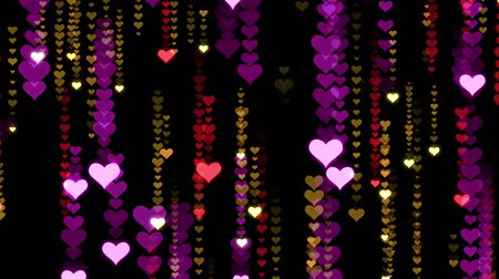 wedding and gold : Festive HEART symbol Rain animation background new quality shape universal glamour motion dynamic animated colorful joyful holiday music video footage Stock Footage