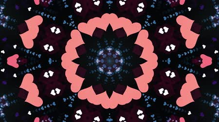 dlaždice : ornamental heart shaped lights symmetrical kaleidoscopic ethnic tribal psychedelic pattern animation background New quality retro vintage holiday native universal motion dynamic cool nice joyful video