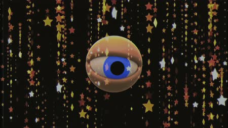 wzrok : retro TV eye in star rain looking around background animation New quality universal vintage dynamic animated colorful joyful nice cool video footage Wideo