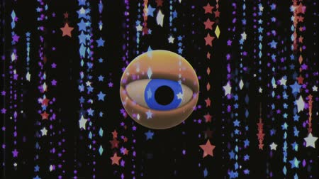 wzrok : retro VHS TV eye in star rain looking around background animation New quality universal vintage dynamic animated colorful joyful nice cool video footage Wideo