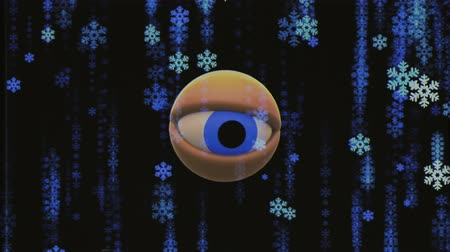 looking for : retro TV eye in snowflake snowfall looking around background animation New quality universal vintage dynamic animated colorful joyful nice cool video footage Stock Footage