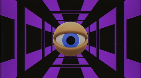 hodinky : retro VHS TV eye in tunnel looking around seamless loop background intro animation New quality universal vintage dynamic animated colorful joyful nice cool video footage Dostupné videozáznamy