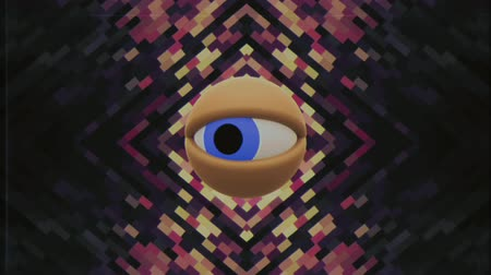 distorsiyon : retro TV eye in pixel energy system looking around background intro animation New quality universal vintage dynamic animated colorful joyful nice cool video footage