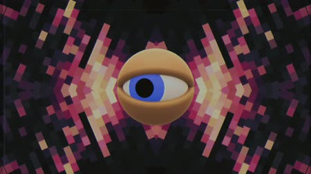 watch tv : retro TV eye in pixel energy system looking around background intro animation New quality universal vintage dynamic animated colorful joyful nice cool video footage
