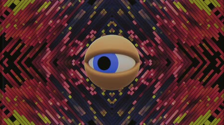 looking forward : retro TV eye in pixel energy system looking around background intro animation New quality universal vintage dynamic animated colorful joyful nice cool video footage