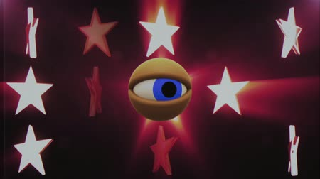 wzrok : retro TV eye in shiny stars looking around background seamless loop animation New quality universal vintage dynamic animated colorful joyful nice cool video footage