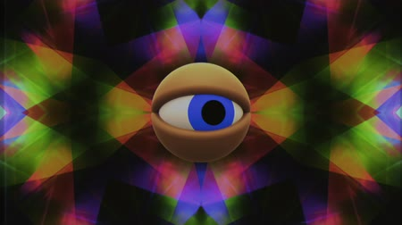wzrok : retro TV eye in rainbow kaleidoscope looking around background animation New quality universal vintage dynamic animated colorful joyful nice cool video footage