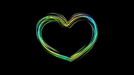полоса : abstract rainbow color drawn HEART shape elegant lines stripes beautiful animation background New quality universal motion dynamic animated colorful joyful music video footage